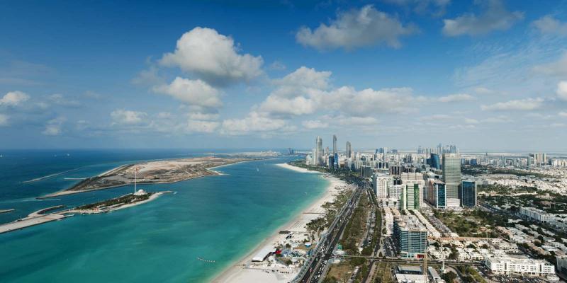 Aerial view of Abu Dhabi Corniche.