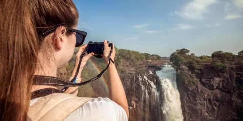 At Victoria Falls with G Adventures.