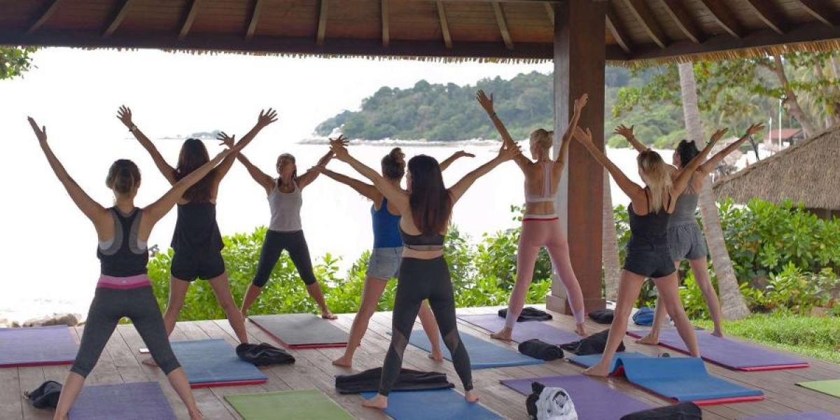 Exercise class at the Club Med on Bintan Island