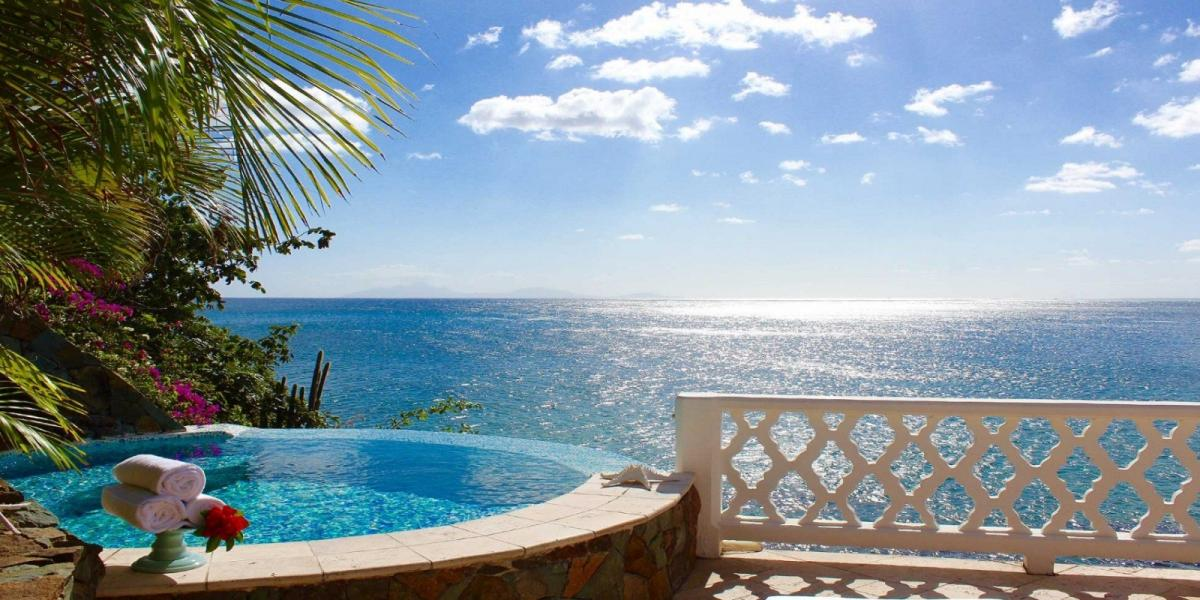 Spa pool with stunning views at Curtain Bluff, Antigua.