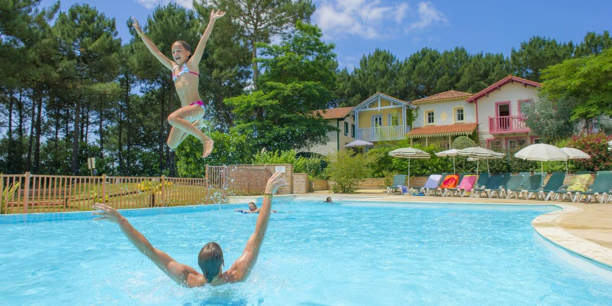 Fun times in the pool at Pierre & Vacances Holiday Village Lacanau.