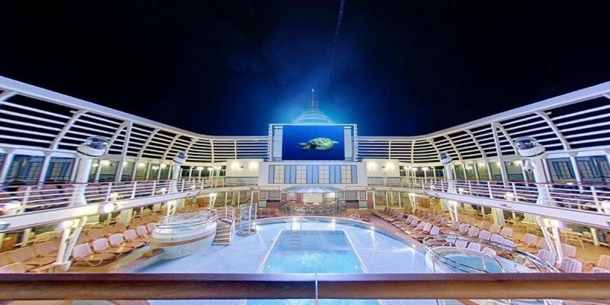 Outdoor movie nights on board P&O Azura.