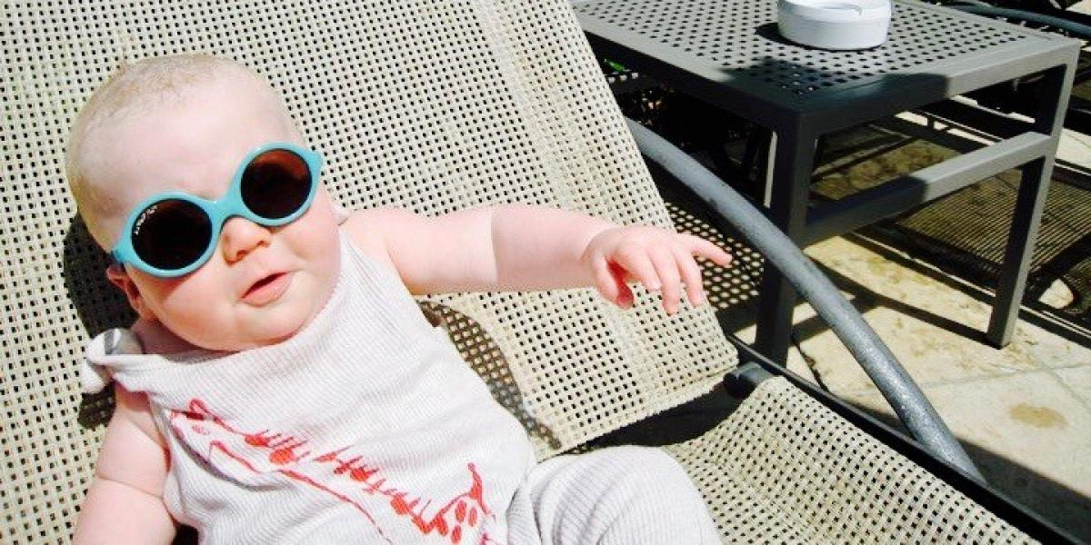 Baby on lounger.