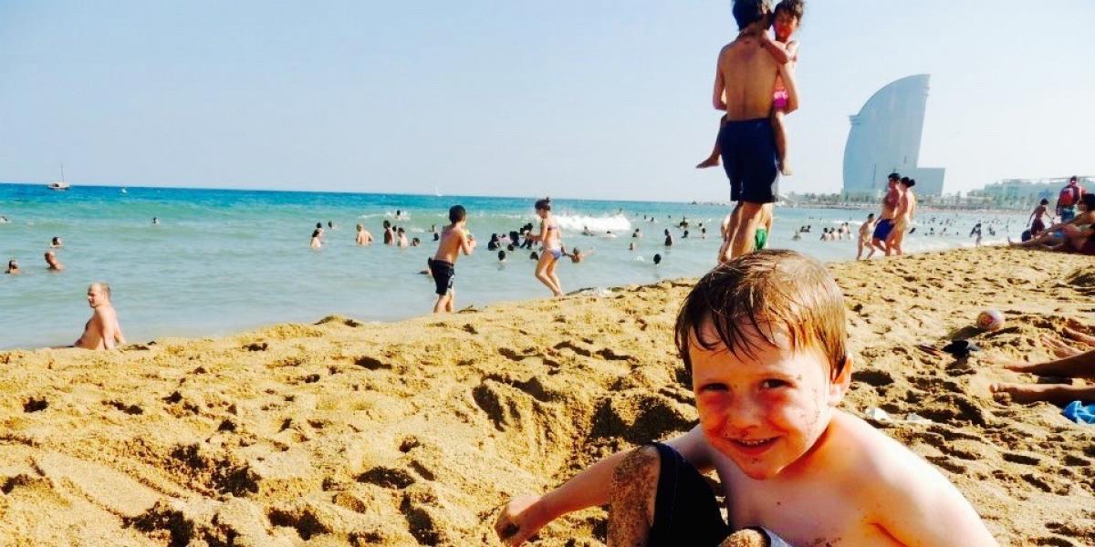Rhonda's son on Barceloneta beach.