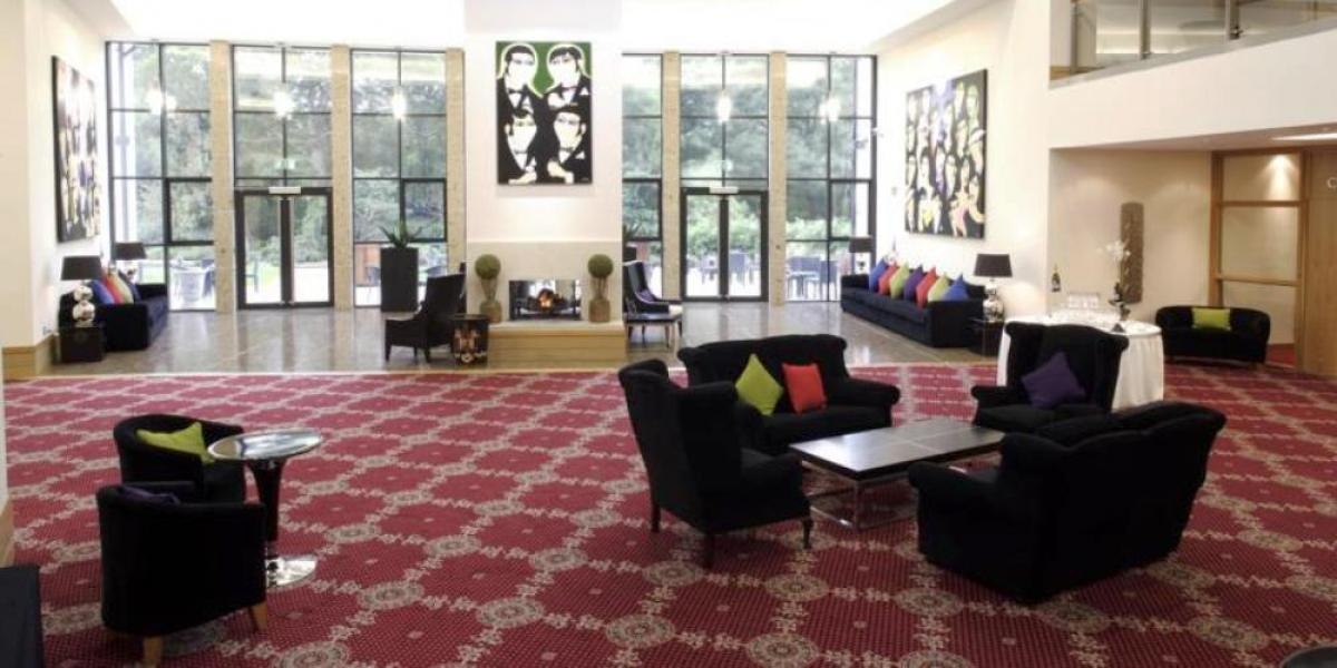 Quirky reception area at La Mon Hotel and Country Club.
