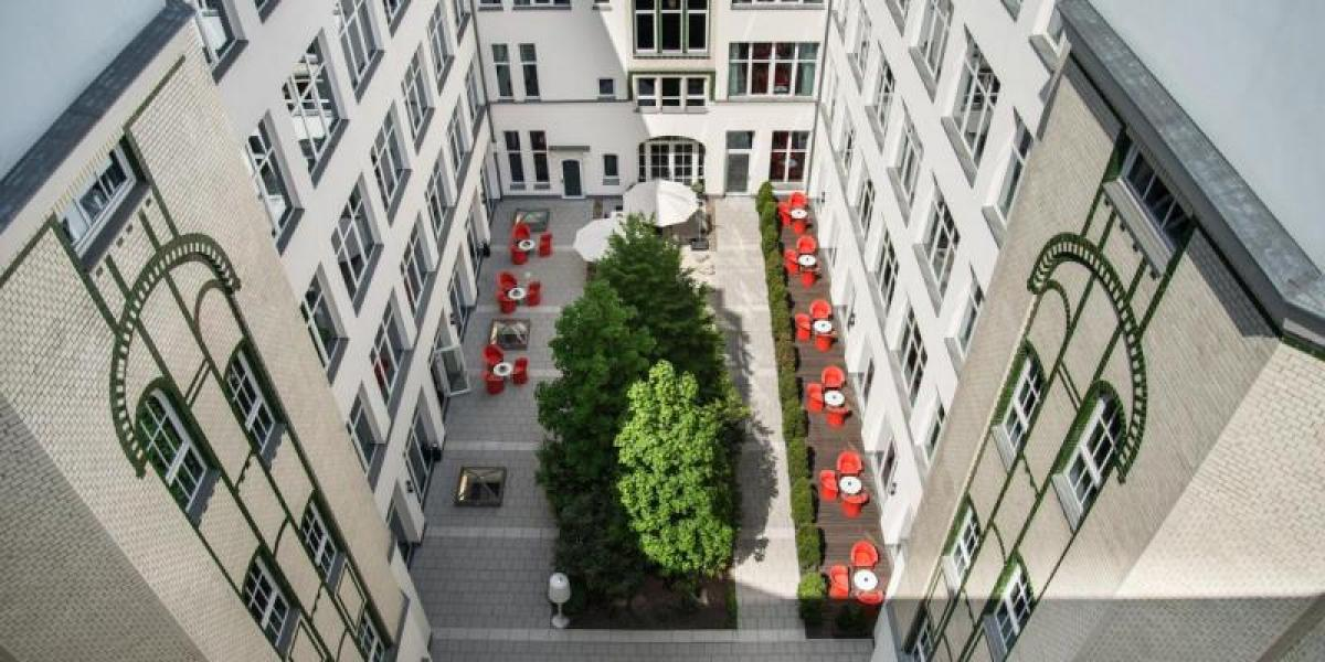 Courtyard at Adina Apartment Hotel Berlin Checkpoint Charlie.