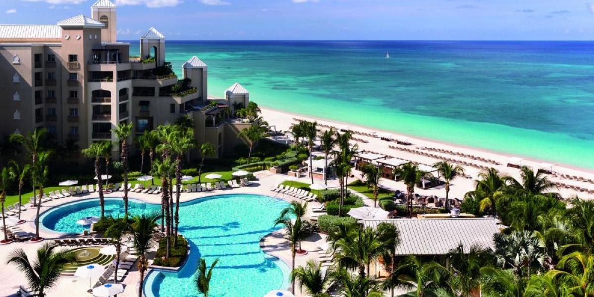 View of the resort and out to sea, The Ritz Carlton Grand Cayman.