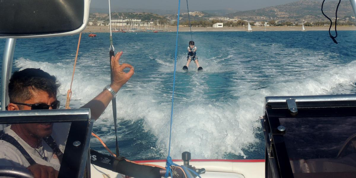 Rhonda's son Ethan learning to waterski at Levante Beach Resort.
