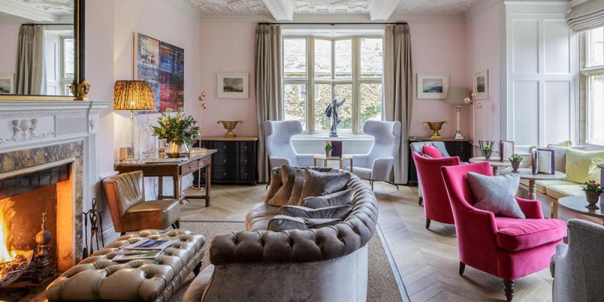 Stylish drawing room at Lower Slaughter Manor Hotel.