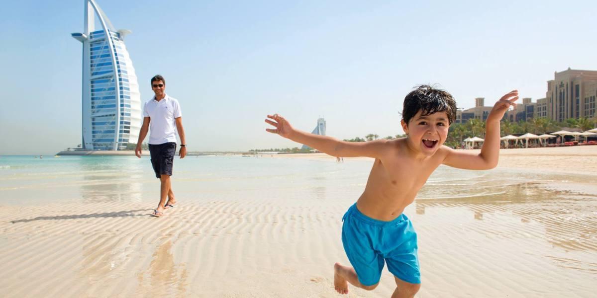 Family fun on the beach in Dubai.