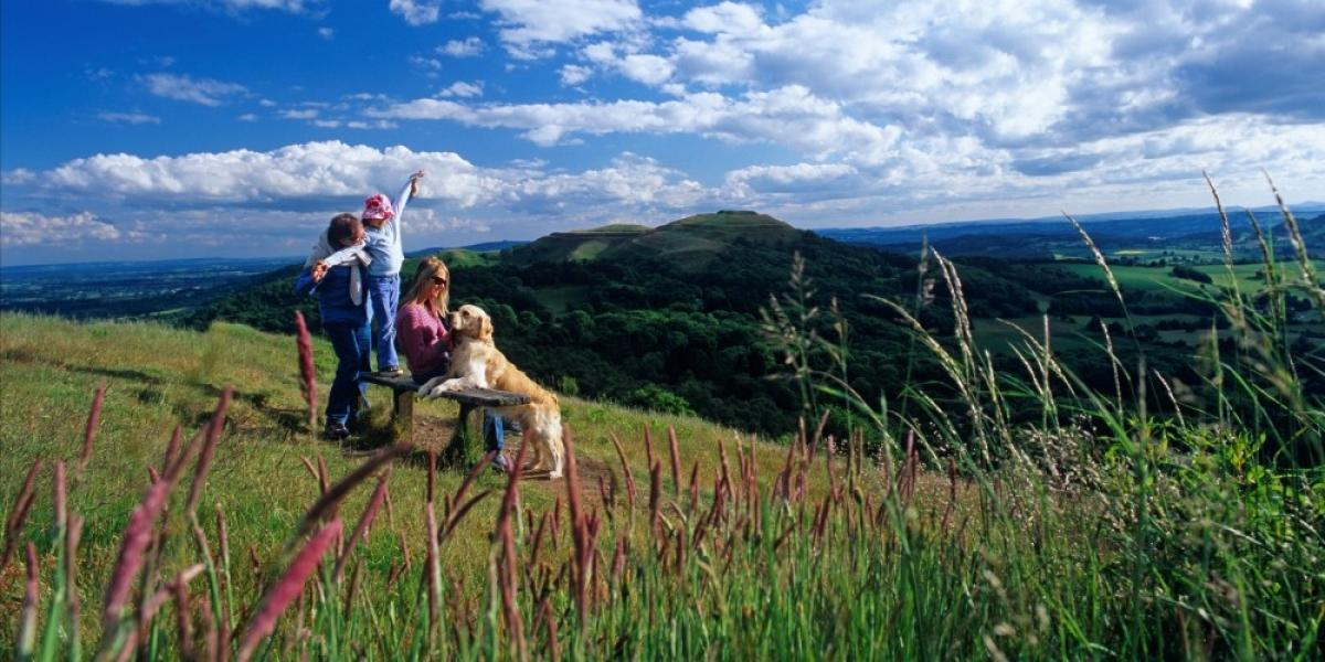 Family on the Malvern Hills, Herefordshire