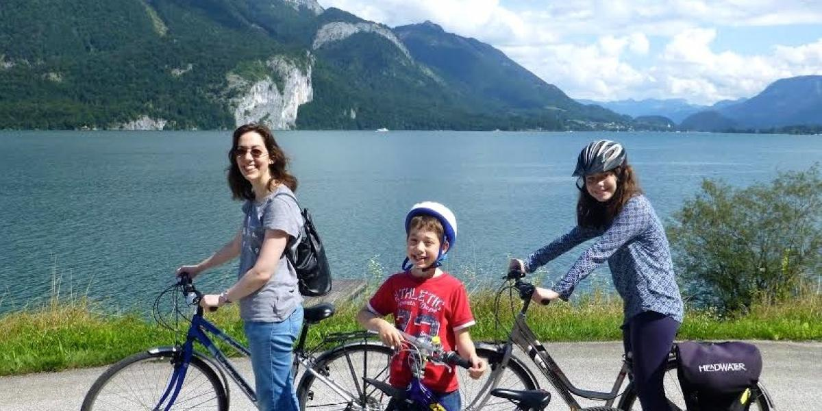 Sarah and kids cycling in the Salzkammergut region of Austria