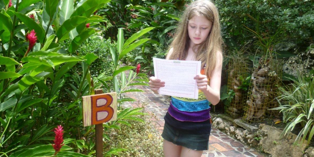 Exploring the Andromeda Botanical Gardens.