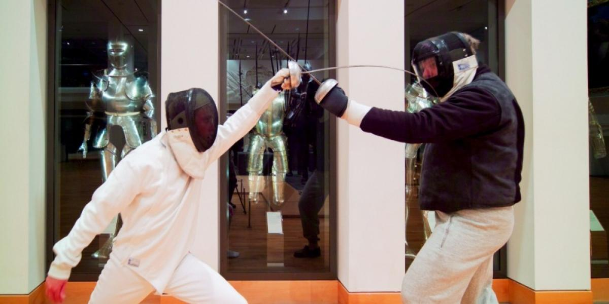 Fencers at the Royal Armouries in Leeds