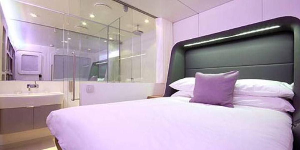 A bedroom at Yotel Gatwick.