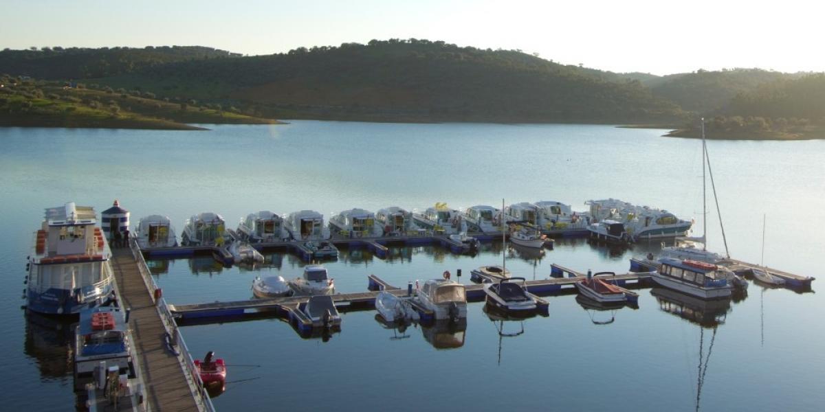 Houseboats on Lake Alqueva.