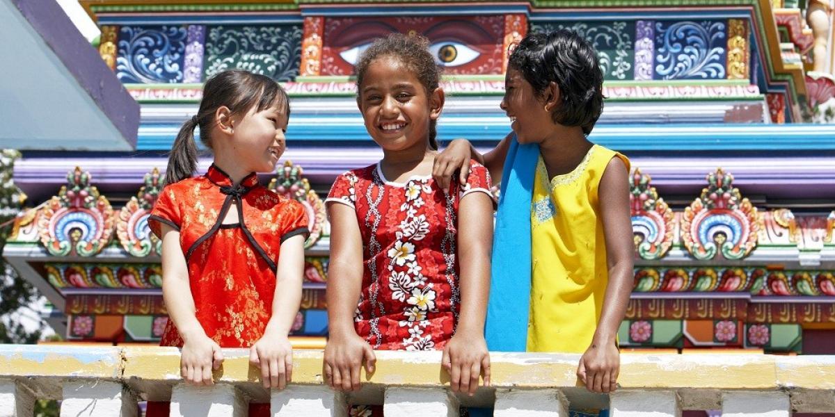 Local children outside a temple