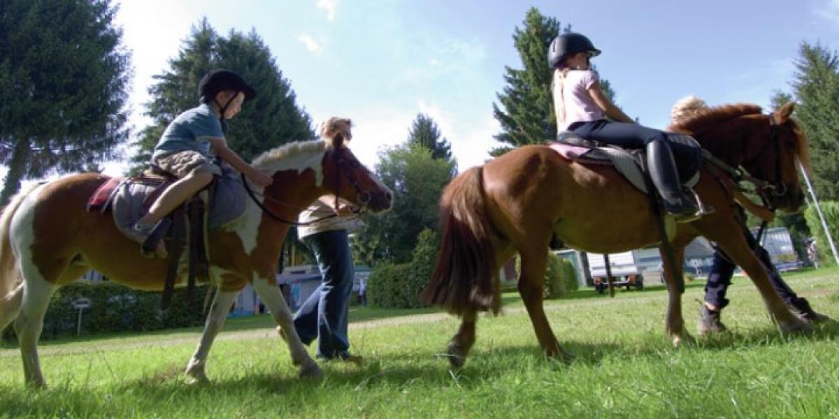 Horse riding at Campingpark Gitzenweiler Hof Campsite.