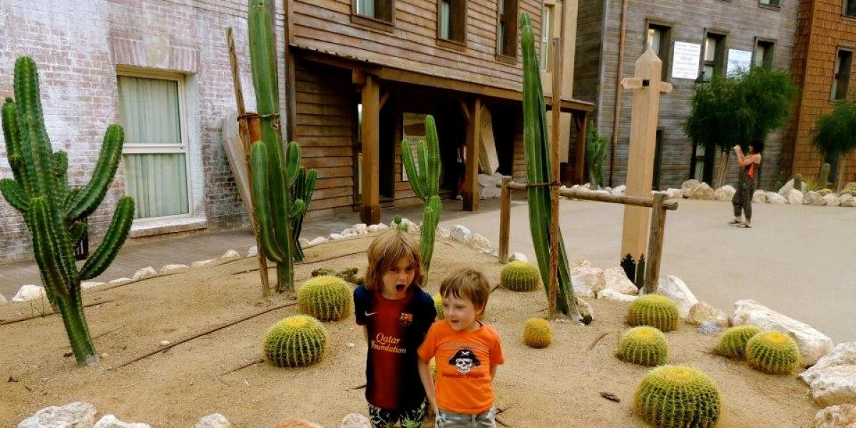 Dodging cacti at the Wild West themed Hotel Gold River at PortAventura.