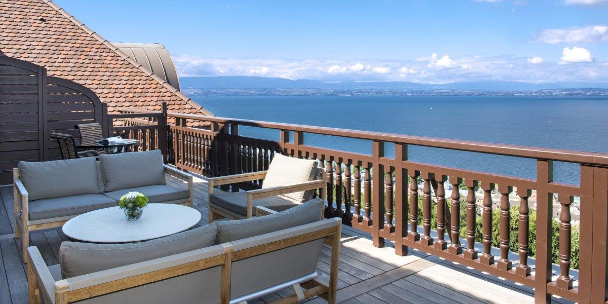 View from a panoramic terrace at Evian Royal Resort.