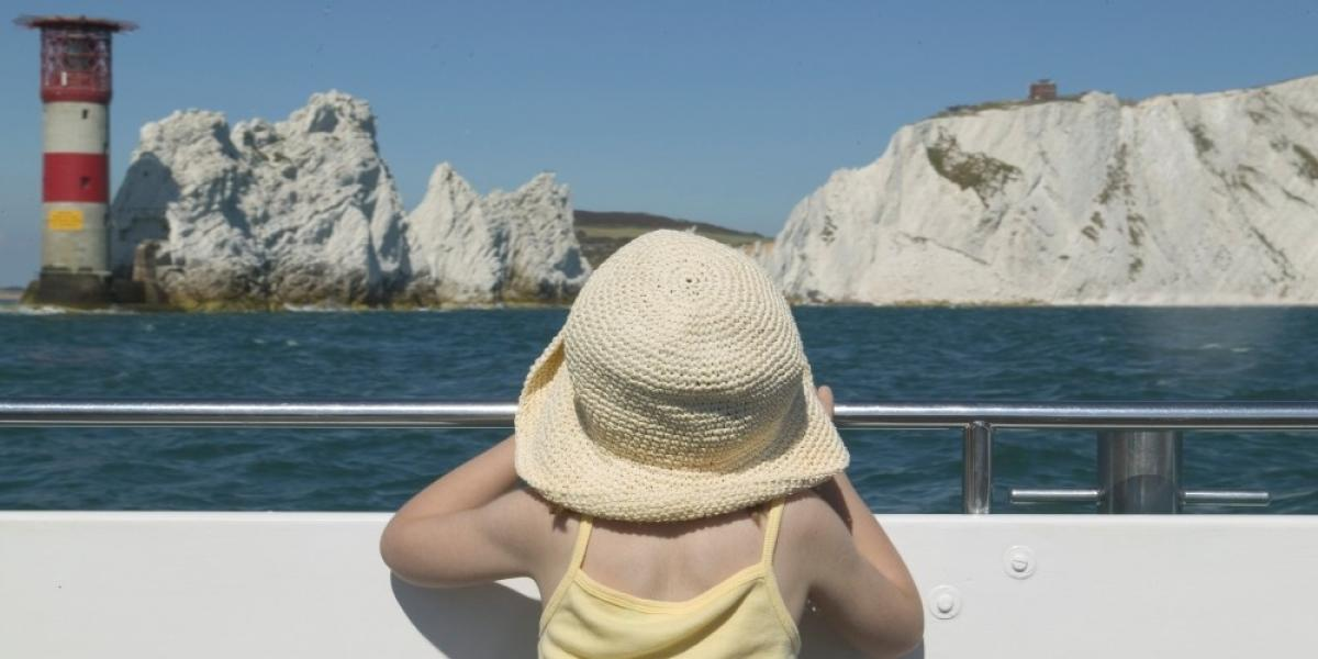 Viewing The Needles from a boat.