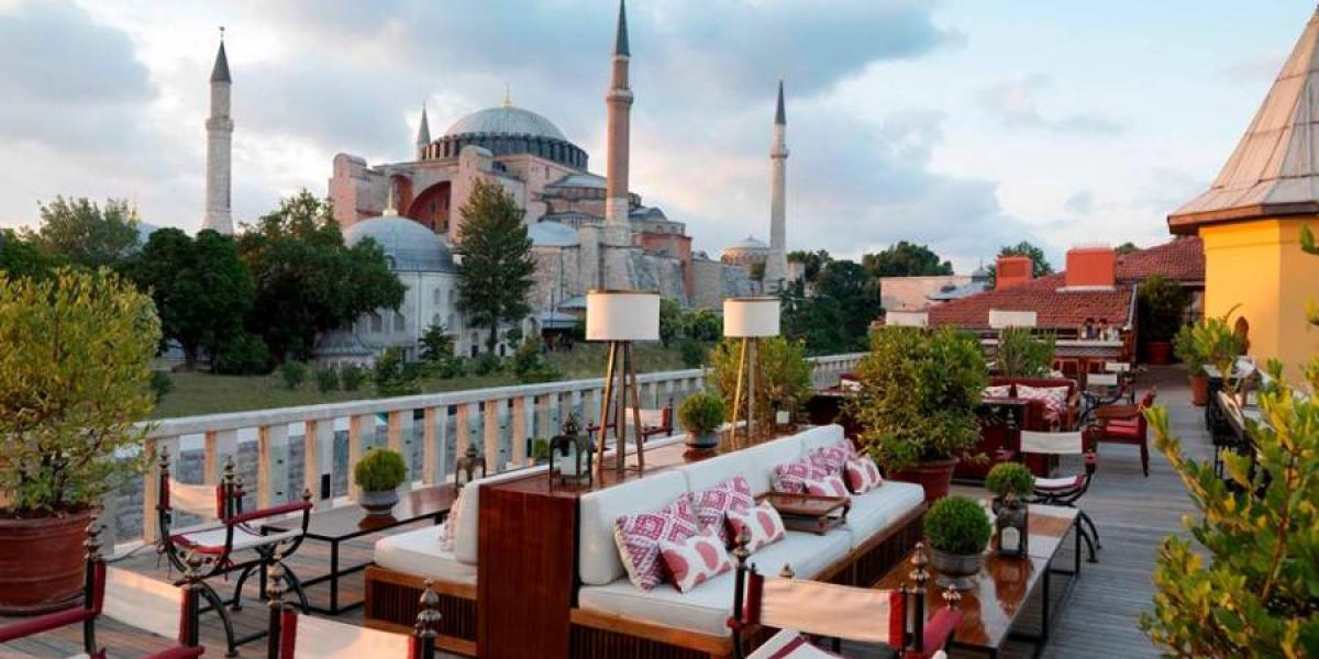 View of the Blue Mosque from the roof bar at the Four Seasons Sultanahmet.