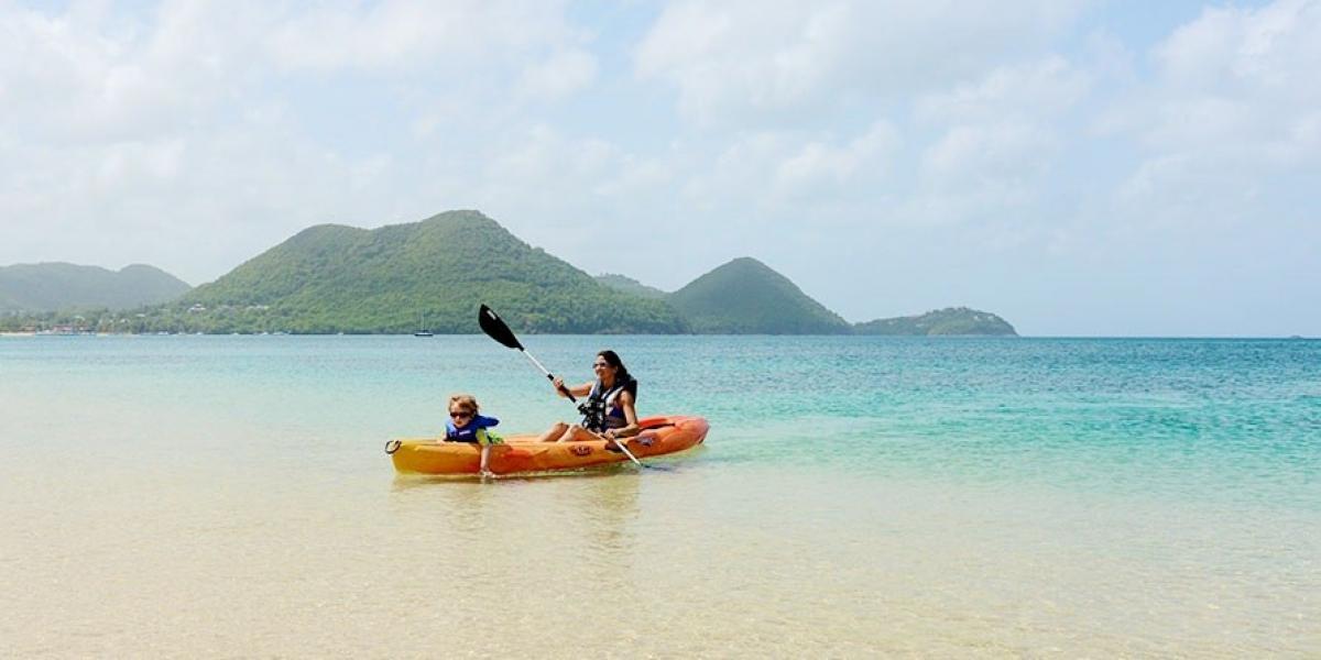 Kayaking fun at The Landings, Saint Lucia.