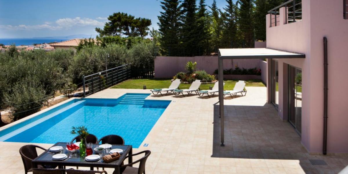 Terrace, pool and views at Villa Caterina, Kefalonia.