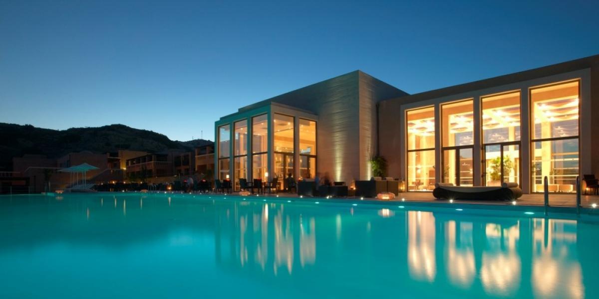 Main pool by night, Helona Beach Resort.
