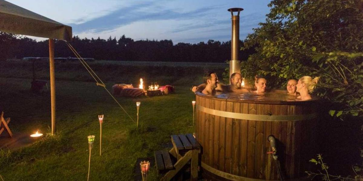 Relax in your own private hot tub at Dolphinholme Farm.