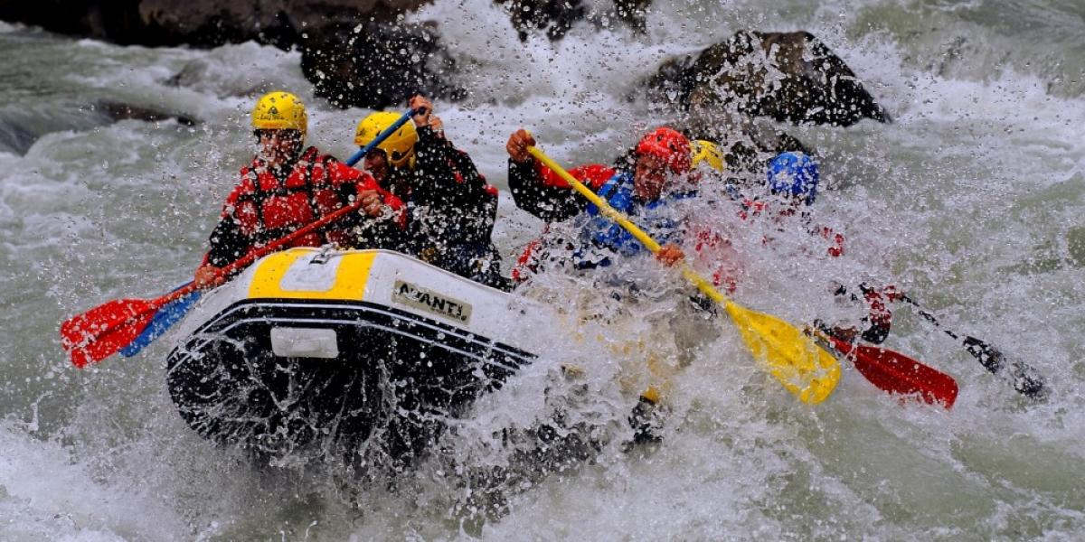 White-water rafting on a family holiday (La Plagne)