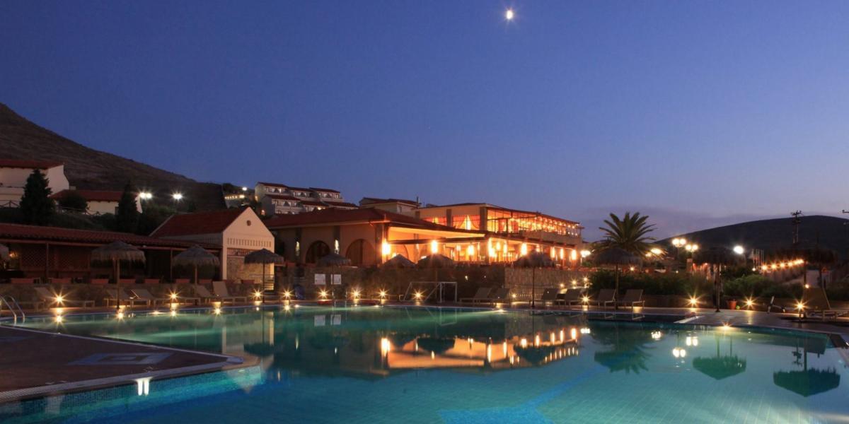 Lemnos Beach Resort pool by night.