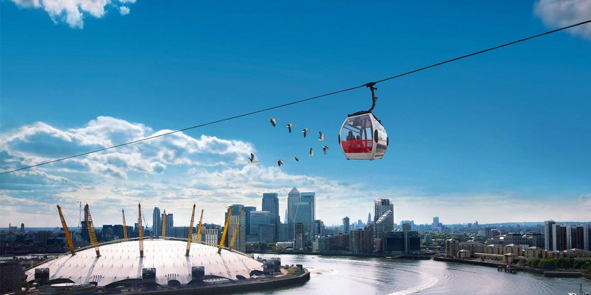 The Emirates Air Line over the River Thames.