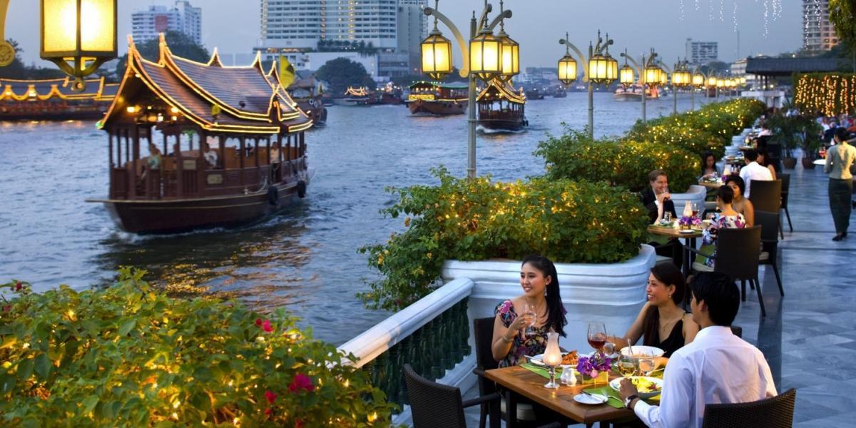 Riverside terrace at Mandarin Oriental Bangkok.