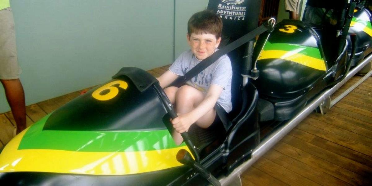Ethan getting ready to tackle the bobsleigh on Mystic Mountain.