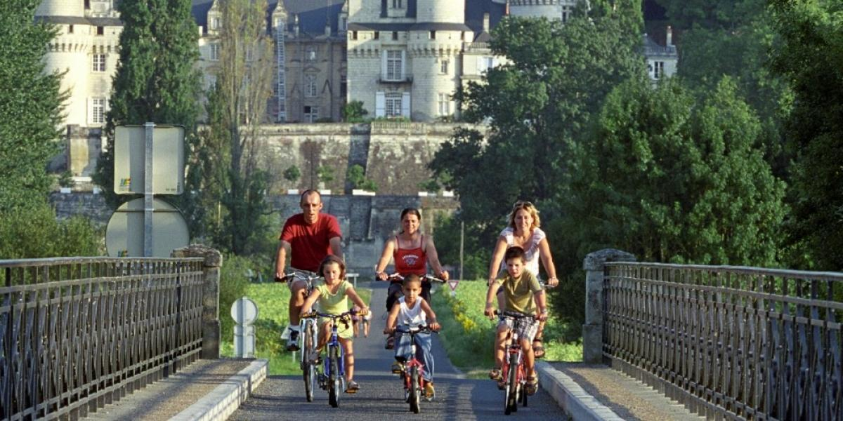 Family cycling in the Loire Valley.