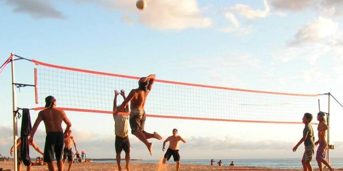 Playing volleyball on a beach in Rhodes.