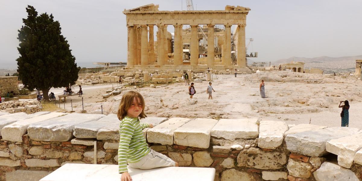 Ripley takes a break near the Parthenon.