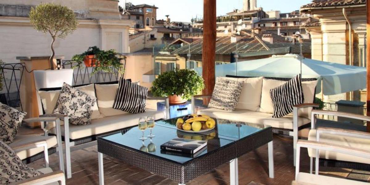 Rooftop views fromt 9Hotel Cesari.