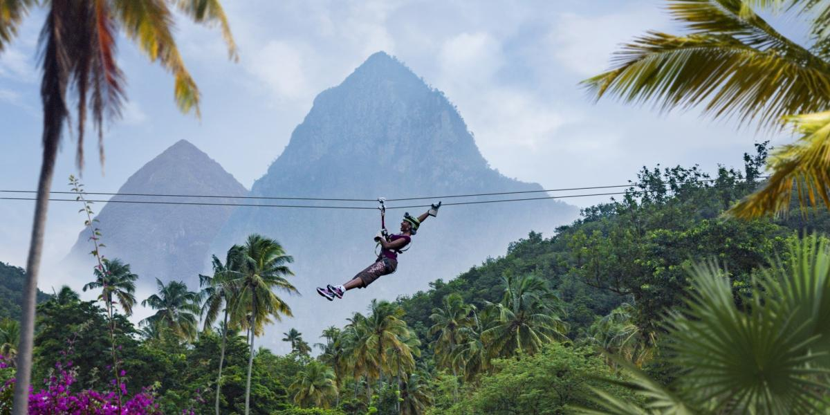 Zipwiring over the rainforest in Saint Lucia.