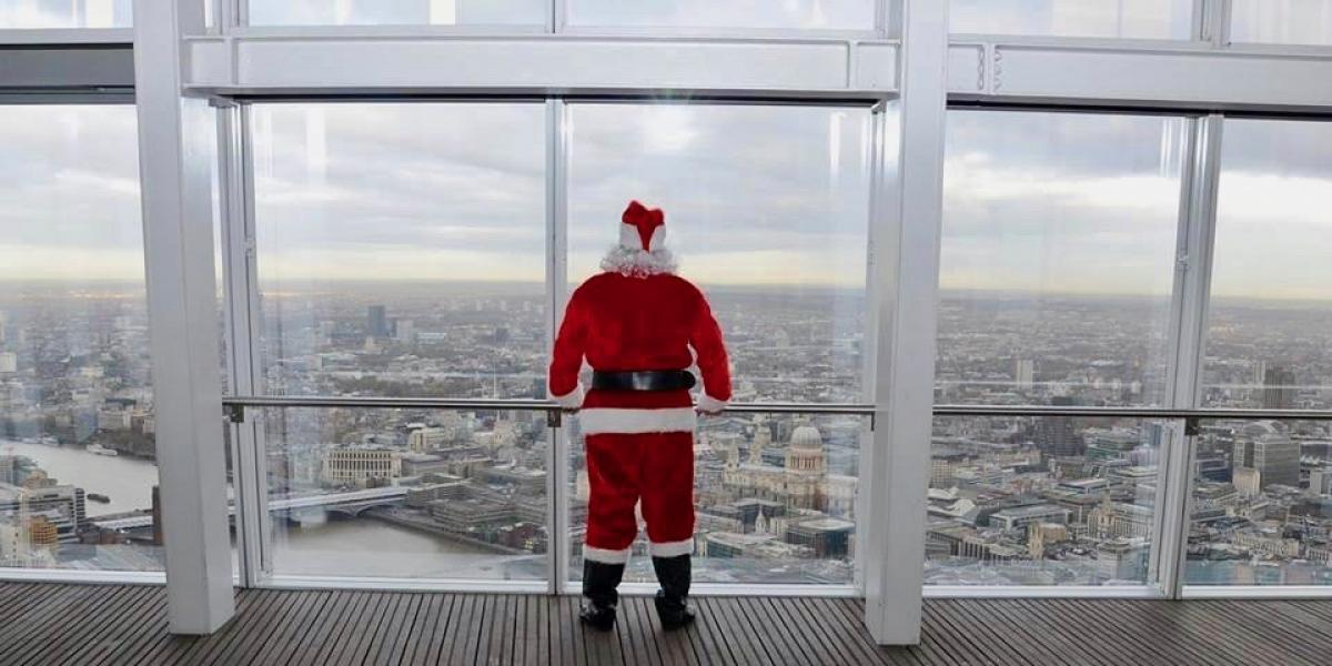 Santa surveying London from The Shard.