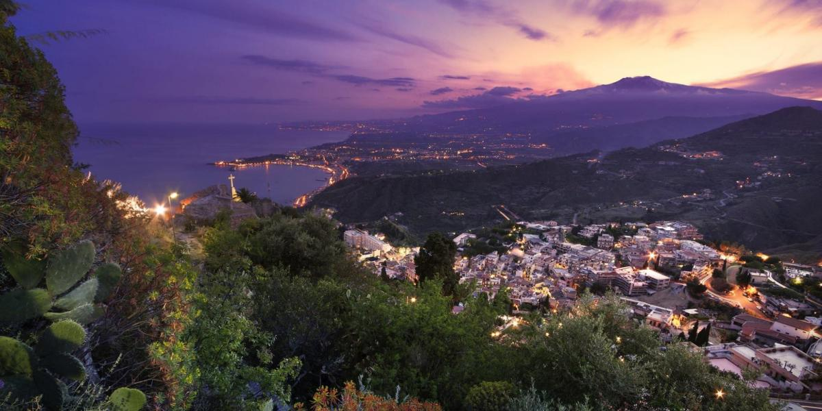 View from Taormina towards Mount Etna.