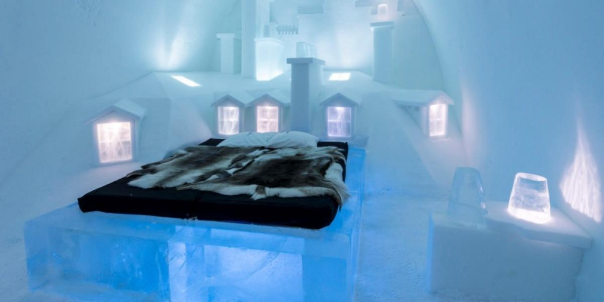 One of the cold bedrooms at ICEHOTEL.