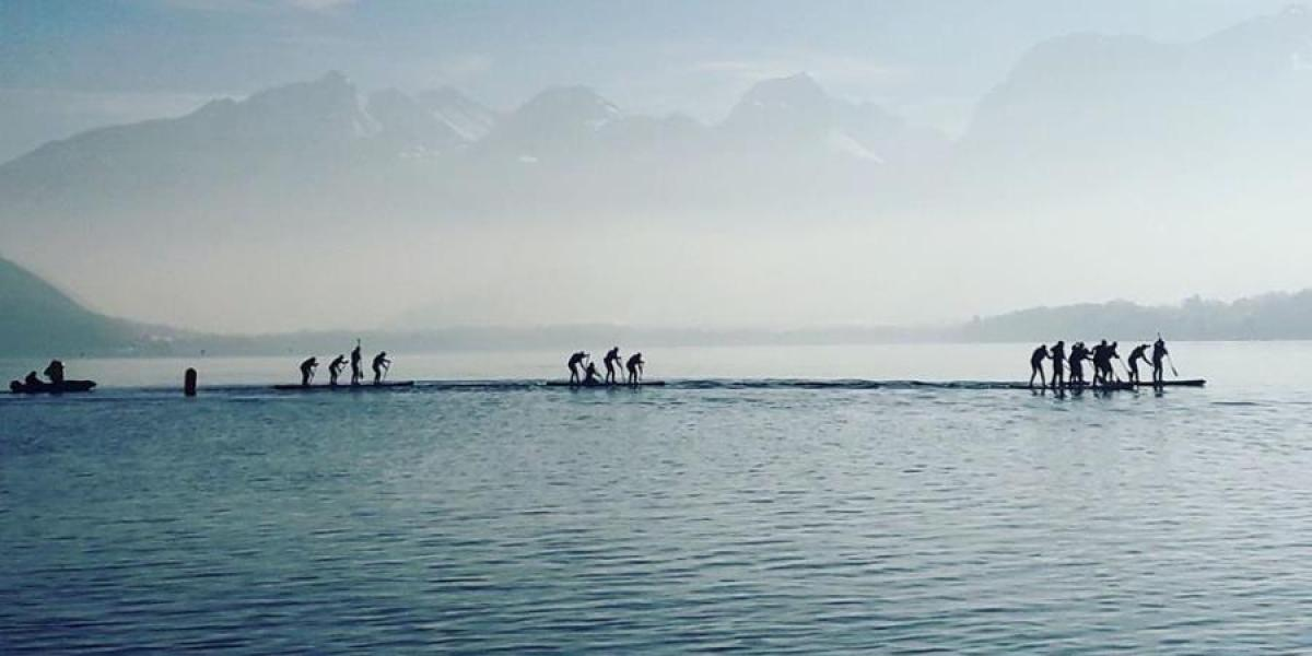 Paddleboarding race on Lake Annecy.