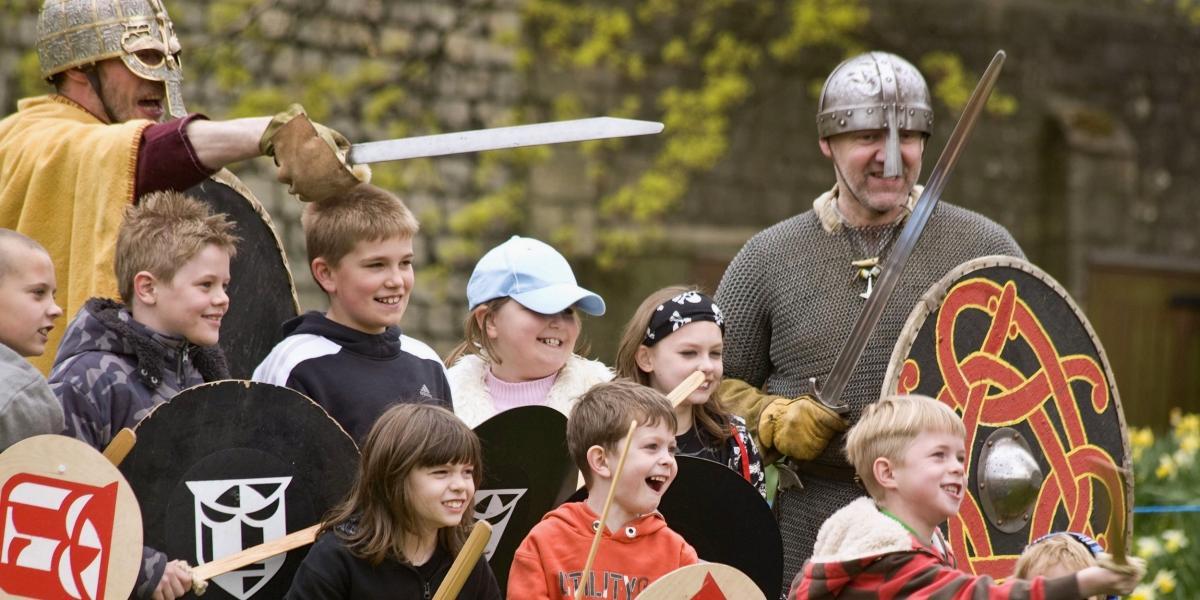A mock Viking battle in York