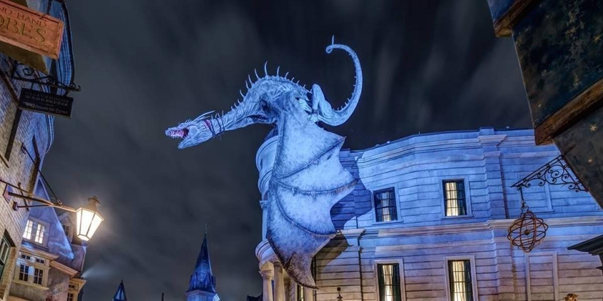 The fire-breathing dragon over Gringotts Bank